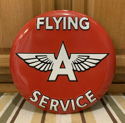 Flying A Service Sign Metal Garage Wall Decor Gas Oil Vintage Style Embossed
