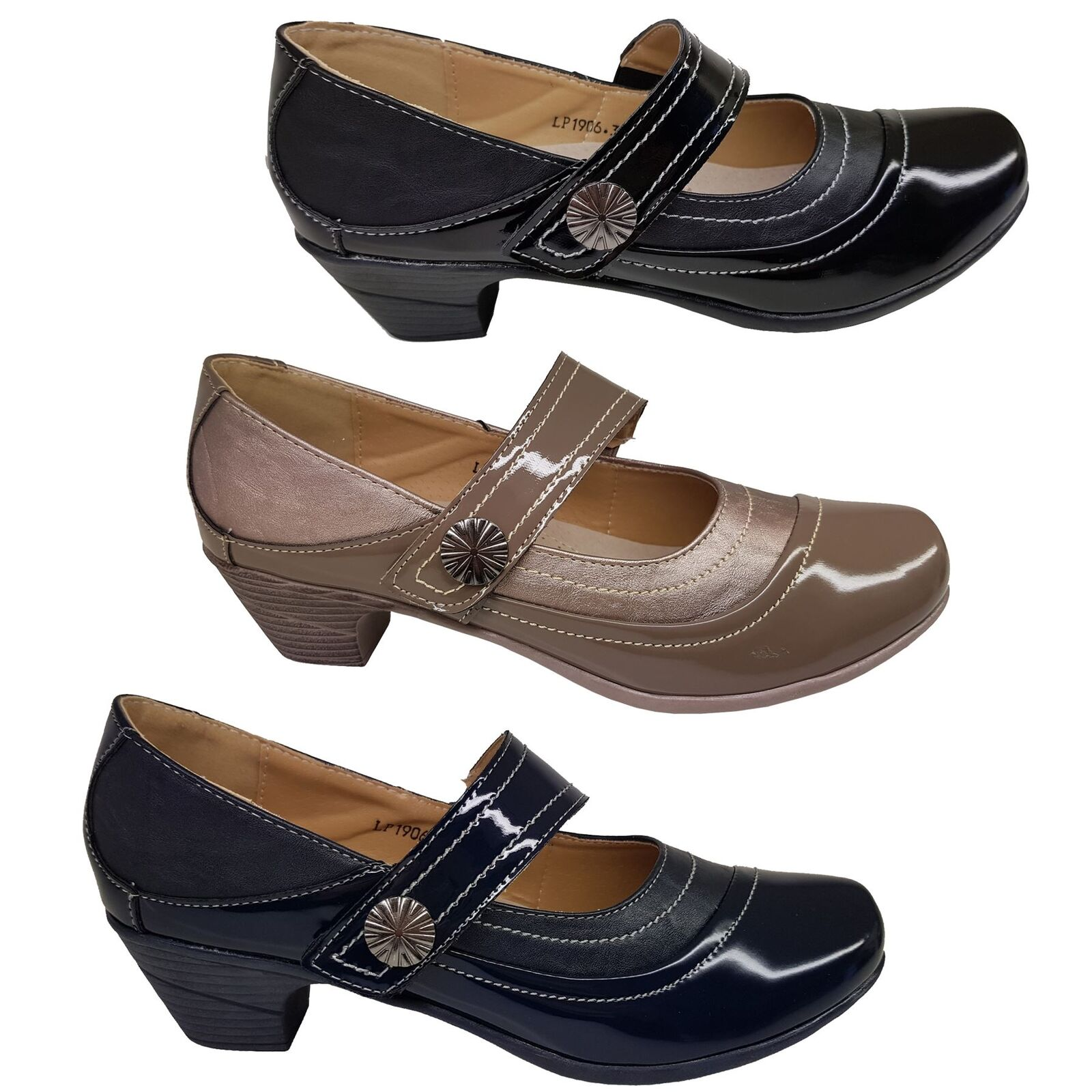 Ladies Patent Faux Leather Stitch Slant Strap Heels Padded Insole Low Block Heels Strap cd4177