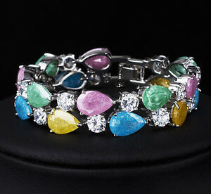 14k-White-Gold-GF-Bracelet-made-w-Authentic-Swarovski-Crystal-Multicolor-Stone
