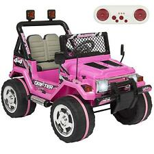 12V Ride On Car Truck Remote Control Leather Seat UV Lights Pink Girls Kids Jeep