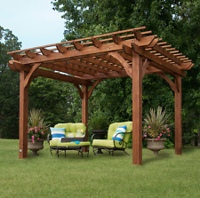 Free Standing Pergola 10 x 12 Gazebo Kit Backyard Patio Canopy Outdoor Building & Pergola 100 Natural Cedar Pre-stained Wood Outdoor Patio Backyard ...