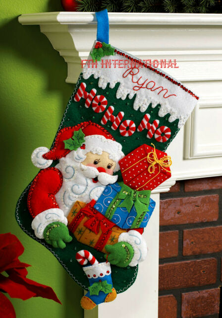 Christmas Stocking Kit.Bucilla Ho Ho Ho Santa 18 Felt Christmas Stocking Kit 86171 Presents Gifts
