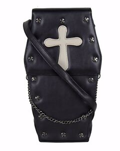 GOTHX-COFFIN-GREY-CROSS-Steam-Punk-Rock-Goth-Backpack-Cross-Body-Handbag-PU-Bag