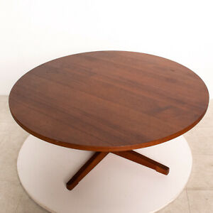 Mid Century Danish Modern Round Coffee Table Solid Teak ...