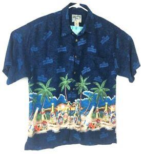 d84e122a Men's Sz Medium Big Dogs Tropical Beer Short Sleeve Button Hawaiian ...