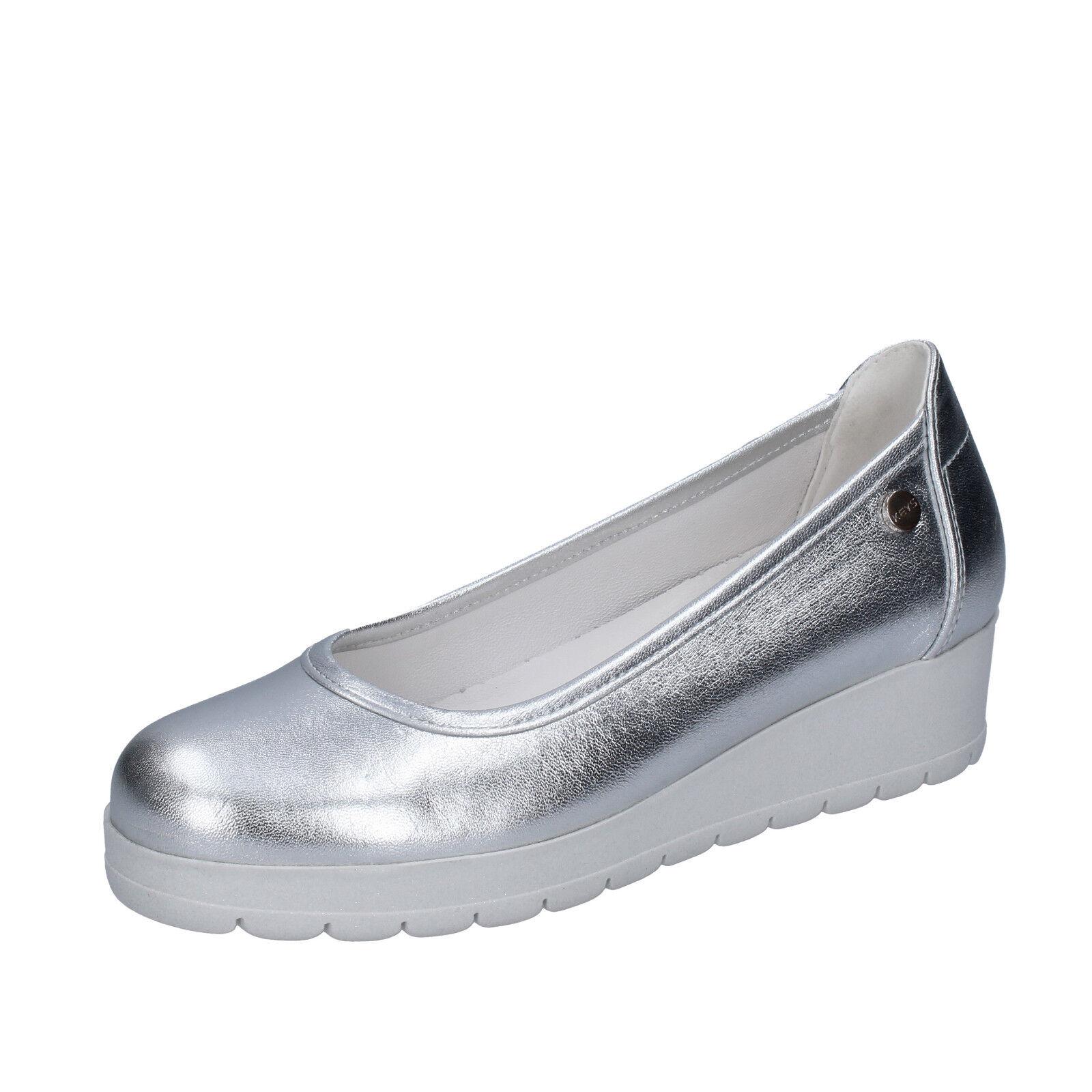 Chaussures femmes clés 36 UE ESCARPINS ARGENT CUIR bt980-36