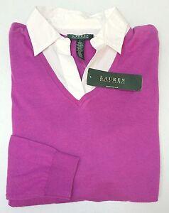 NWT-125-Ralph-Lauren-LS-Shirt-Womens-Size-S-M-L-XL-Pink-White-V-neck-Blouse-NEW