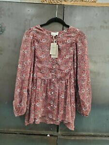 Lucky-Brand-Sheer-Blouse-Dolman-Sleeve-Large-Floral-Mauve-White