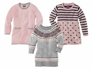 Girls-039-Knitted-Jumper-Dress-Pink-Gray-Heart-Tunic-Sweater-12-24m-2-3-4-5-6-7-8-Y