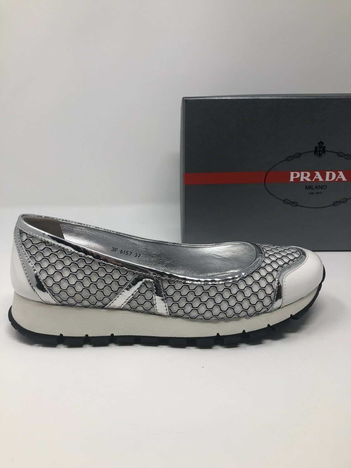 750 New PRADA Womens shoes Ladies White Silver Sneakers Size 9 US 39 EU