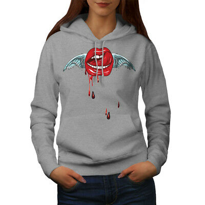Wellcoda Angel Lip Stylish Womens Hoodie, Tongue Casual Hooded Sweatshirt