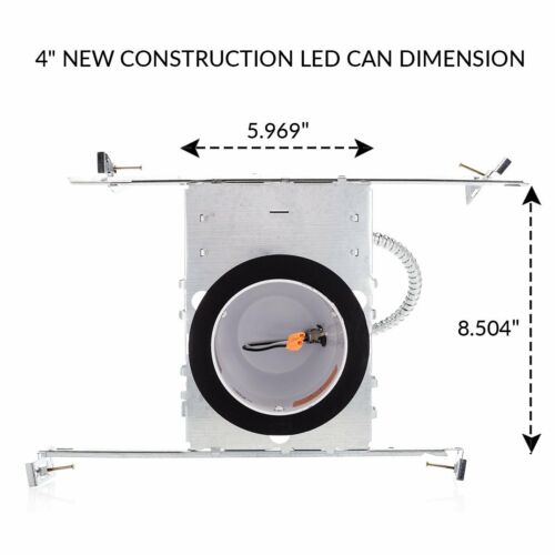 """IC and Airtight Housing 4/"""" Inch New Construction LED Recessed Can Lighting"""