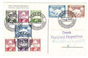 Greenland-Sc-1-9-complete-set-PEARYLAND-NORDGRONLAND-1-AUG-1948-Postcard