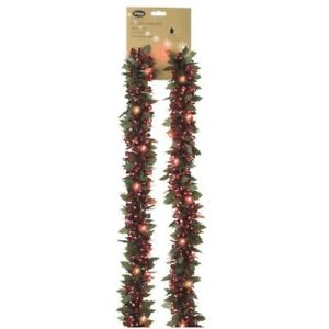 Christmas Tinsel Garland.Details About Festive Productions Battery Operated Prelit Red Christmas Tinsel Garland
