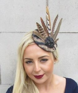 Image is loading Black-Brown-Tiger-Animal-Print-Pheasant-Feather-Fascinator- 62fef07f5a8