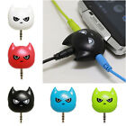 Cute Cat 3.5mm Audio Splitter Earphone Headphone Cable Male to 3 Female Adapter