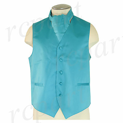 New Men/'s 100/% Polyester solid full Ascot Cravat Only Wedding Prom Aqua Blue