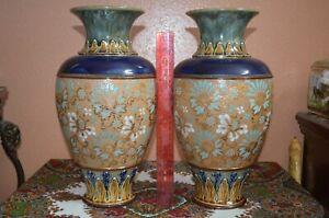 Pair-of-1907-Royal-Doulton-14-034-Glazed-Stoneware-Vases-Marked-W-Artist-Initials