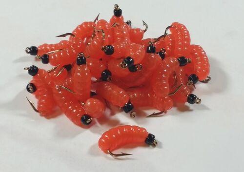 1 douzaine Caoutchouc Cire worm fly BH Hot Orange Wet Fly-Truite Bachelier Pan Fish