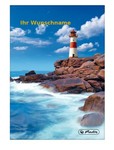 "Notizbuch 96 Bl /""Leuchtturm/"" mit goldfarbender Gravur kariert A5 Kladde"
