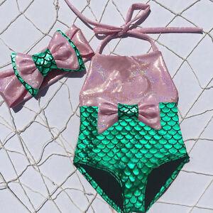 Toddler Kids Baby Girl Mermaid Swimwear Bow Bikini Swimsuit Swimming