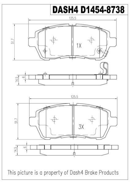 Dash4 MD186 Semi-Metallic Brake Pad