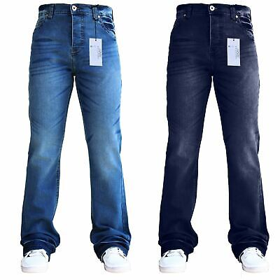 SchöN Bnwt Blue Mens Flared Wide Leg Button Fly Creased Bootcut Denim Sns Pants Jeans