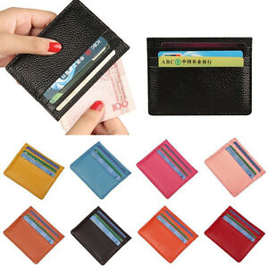 Men-039-s-Women-039-s-Real-Leather-Small-Id-Credit-Card-Wallet-Holder-Slim-Pocket-Case