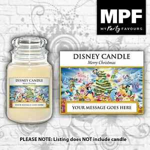 Personalised 'Disney Christmas' Candle Label/Sticker - Perfect Christmas gift!