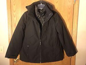 Calvin-Klein-NWT-Size-Medium-Women-039-s-System-Hooded-Jacket-Coat-3-in-1-Black