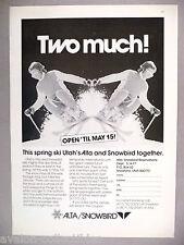 Utah's Alta & Snowbird Ski Resort PRINT AD - 1977