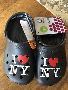0766e2c74 NWT New Black I Love NY New York Crocs Roomy Fit Shoes 12 13