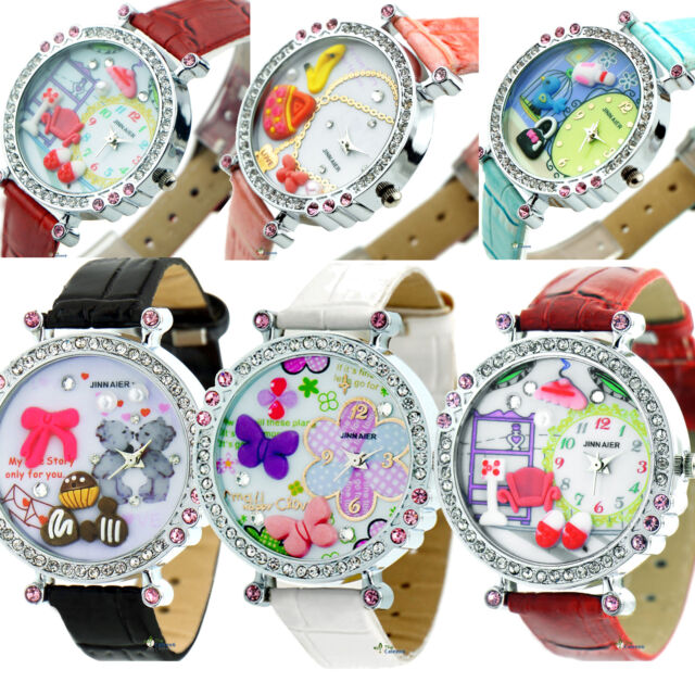 Womens Wrist Watch Flower Butterfly Crystal Leather Band Quartz Dial Watch Kids