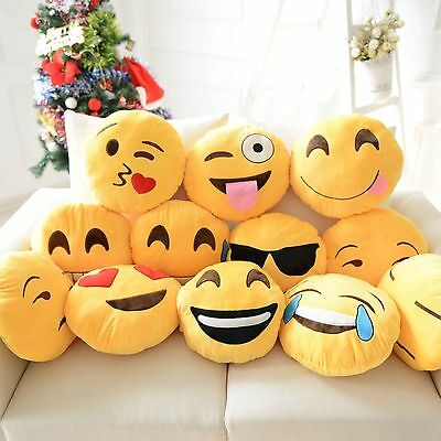 NEW LARGE 14inch EMOJI SMILEY EMOTICON CUSHIONPILLOW PLUSH YELLOW TOY UK