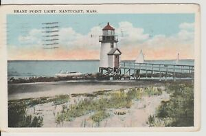 Nantucket-MA-Mass-Brant-Point-Lighthouse-amp-sailboats-vintage-postcard