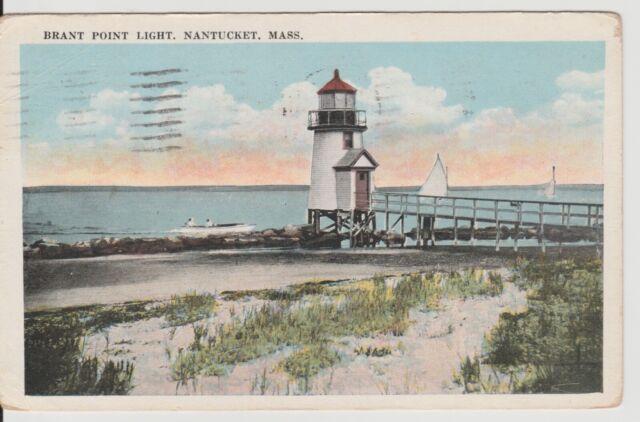 Nantucket MA Mass Brant Point Lighthouse &  sailboats vintage postcard