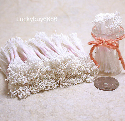 250 Mini White Double Sided Round Flower Stamens Craft Artificial Cards Floral