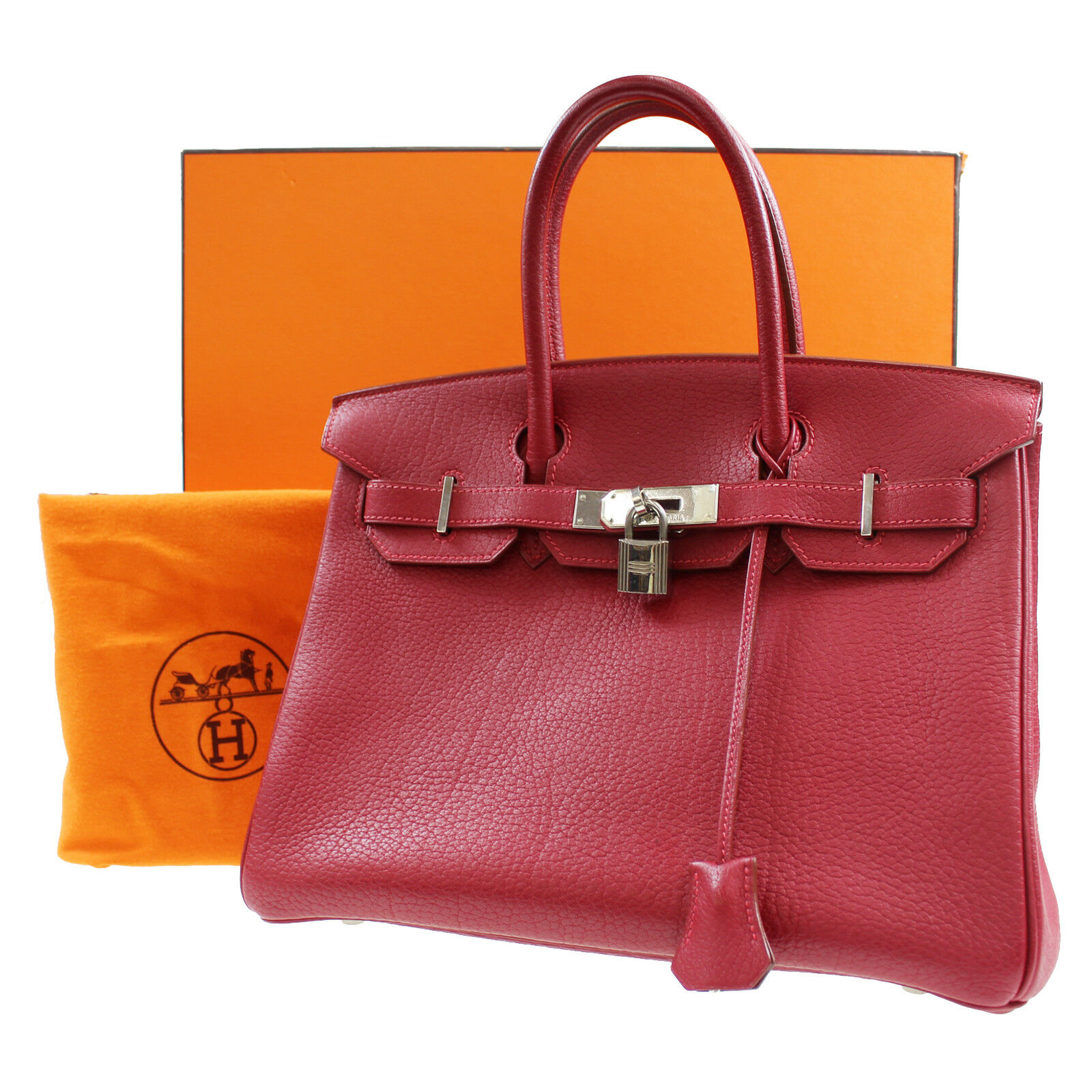 557ebd903e HERMES Birkin 30 Hand Tote Bag Red Togo Leather Vintage France Authentic   Z55 M