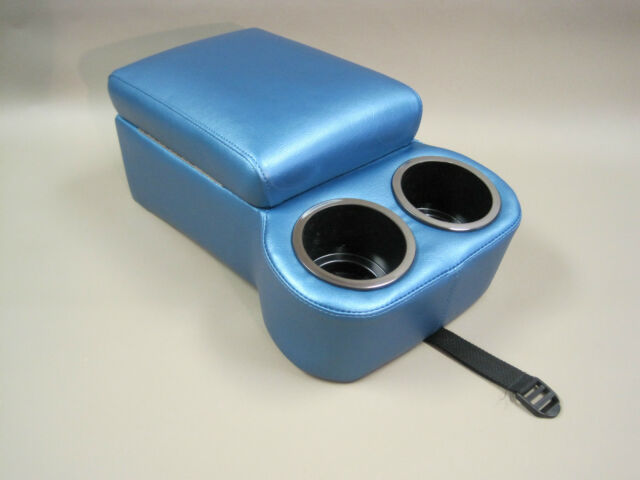 Bright Blue Bench Seat Console With Flip Up Armrest and Cup Holders