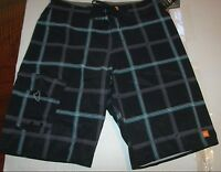 New Quiksilver  black plaid board shorts swim Diamond Dobby 4 way stretch 30  32