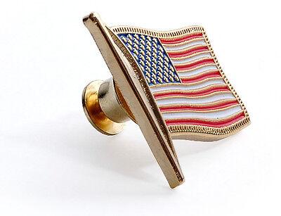 BRAND NEW BRASS ENAMEL USA FLAG #2 HAT PIN LAPEL PIN TAC BACK PATRIOTISM