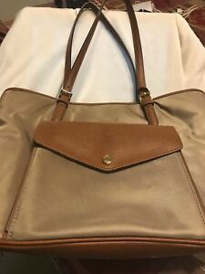 31be14d10c0f MICHAEL KORS JET SET NYLON DUSK+BROWN W/ POCKET IN FRONT--MULTI ...