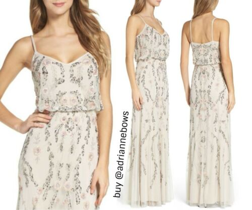 NWT $349 Adrianna Papell Mesh Blouson Gown Floral Ivory #N857 SZ 10