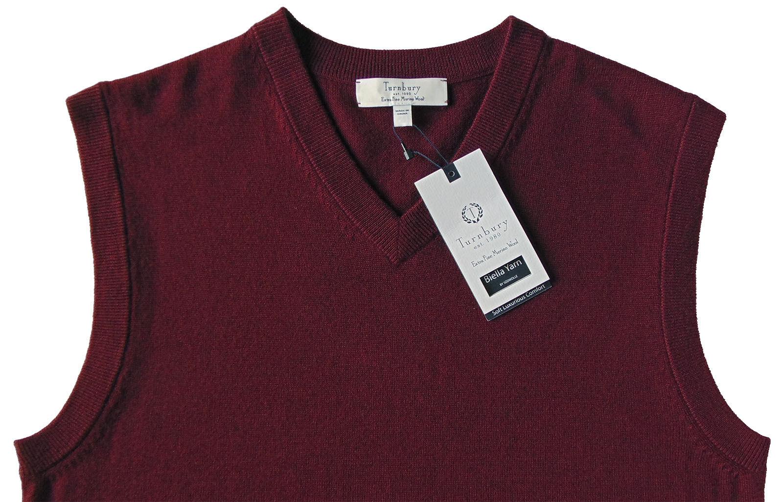 Men's TURNBURY Burgundy Deep Maroon Wool Sweater Vest Small S NEW NWT BIELLA