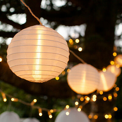10 White Chinese Lantern Connectable Indoor Outdoor LED Fairy String Lights