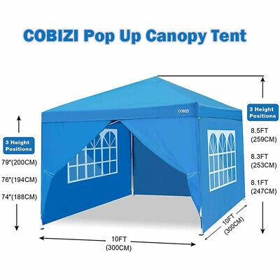 Waterproof Premium Pop up Gazebo With 4 Side Walls for Outdoor Wedding Garden Party 3 x 3 m + 4 Side Walls + Bag, Blue COBIZI Pop Up Gazebo with Sides 3m x 3m