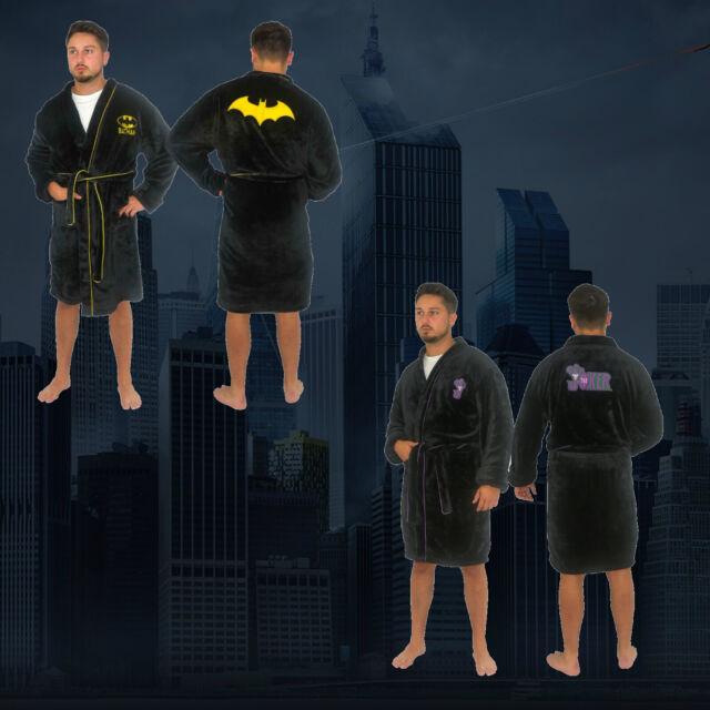 Personalised Characters Batman Mens Gents Black Fleece Bath Robe Dressing Gown