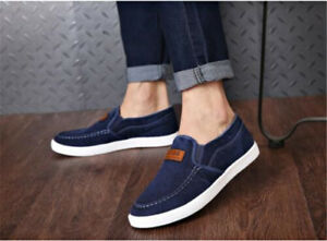 Stylish-Casual-Men-039-s-Sneakers-Slip-On-Low-Top-Shoes-Canvas-Denim-Shoes-Loafers