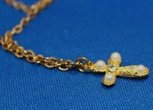 """Gold tone necklace Pendant Cross Crucifix with Seed Pearls Beads 17"""" 44cm"""