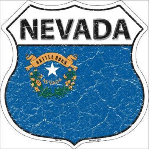 NEVADA STATE FLAG METAL NOVELTY HIGHWAY SHIELD SIGN